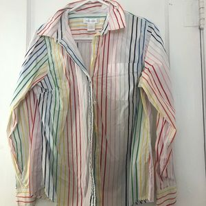 Rainbow Striped Button Up